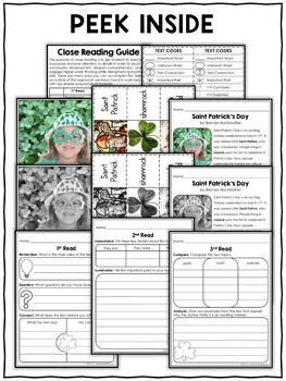 Close Reading Passage - St Patricks Day Activities