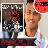 Reading Comprehension Passages and Questions - September