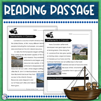 Close Reading - Settlement Patterns in Canada FREEBIE