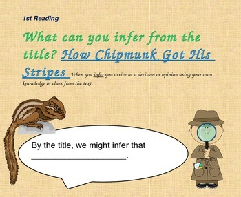 Close Reading Slides for How Chipmunk Got His Stripes
