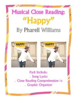 Close Reading Song Lyrics:  Happy by Pharell Williams