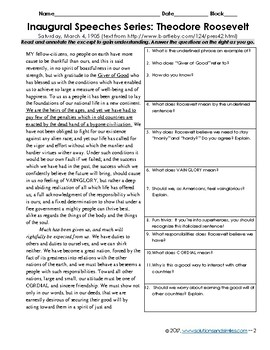 T. Roosevelt's Inaugural Speech Analysis: Close Reading, Constructed response