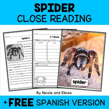 Close Reading Passage - Spider Activities