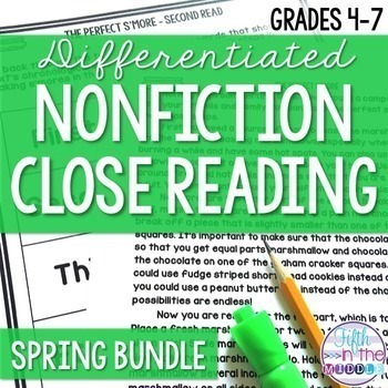 Differentiated Nonfiction Close Reading Texts Spring Bundle {March-June}