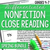 Nonfiction Close Reading Comprehension Passages Spring Bundle {March-June}