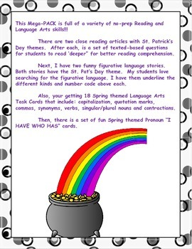 Reading and Language Arts Activities:  MEGA PACK