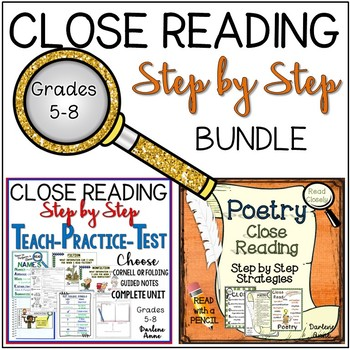 CLOSE READING: STEP BY STEP STRATEGIES BUNDLE FOR MIDDLE SCHOOL ENGLISH