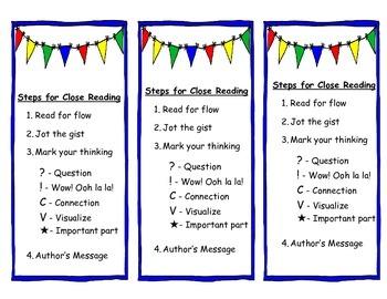 Close Reading Steps Bookmark FREEBIE