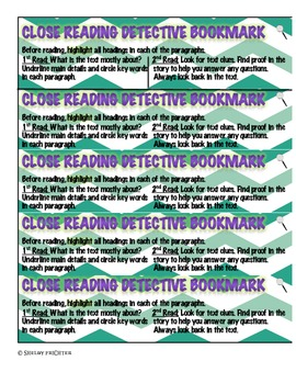 Close Reading Steps - Bookmarks