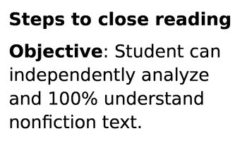 Close Reading Steps   Poster sized