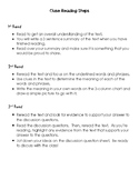 Close Reading Steps and Student Sheet