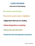 Close Reading Strategies Poster