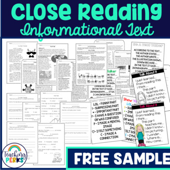 Close Reading Strategies and Passage Freebie
