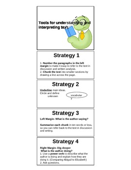 Close Reading Strategy Bookmark