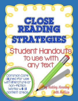 Close Reading Strategy Sheet - Common Core Aligned