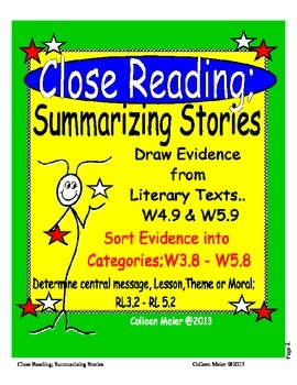 Close Reading Story Elements Summarizing Stories