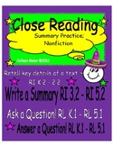 Close Reading Summary Practice; Nonfiction
