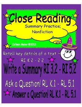 Close Reading Summary Practice; Nonfiction