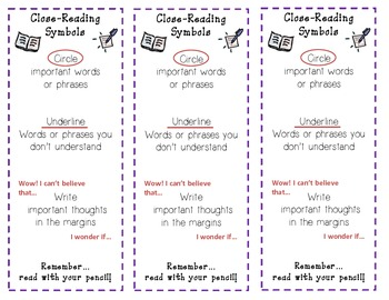 Close Reading Symbols Bookmark