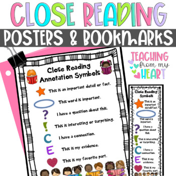 Close Reading Symbols Posters & Bookmarks, ANY Topic, Christmas, Winter