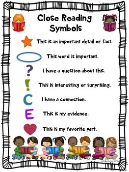 Close Reading Symbols Posters & Bookmarks, ANY Topic, End of Year, Summer