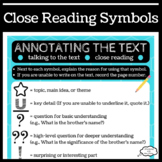Close Reading Symbols Poster/Handout for Annotating Text
