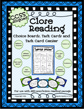 Close Reading Task Card Station and Choice Boards