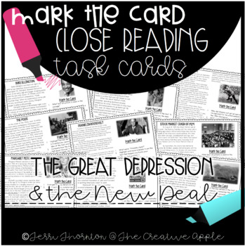 Close Reading Task Cards: Great Depression & The New Deal