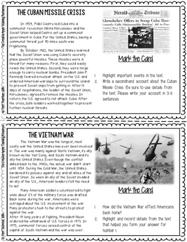 Close Reading Task Cards: The Cold War