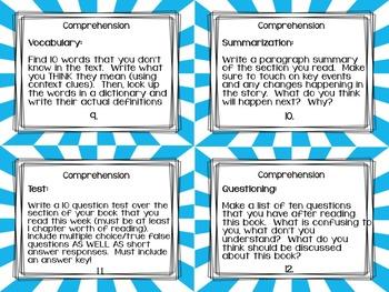 Close Reading Task Cards for Novels