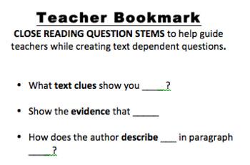 Close-Reading Teacher Bookmark