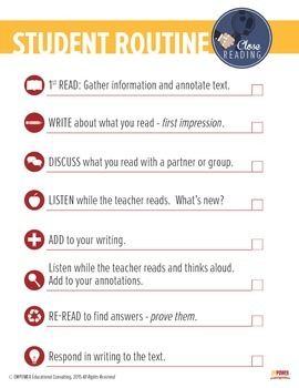 Close Reading Teacher & Student Routines