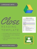 Close Reading Template for Google Docs