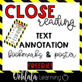 Close Reading Text Annotation Bookmarks