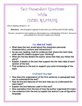 COMMON CORE Close Reading Text Dependent Questions Printab