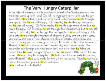 Close Reading-Text Dependent Questions via Read Alouds- Very Hungry Caterpillar