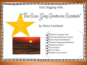 "Close Reading ""Text Digging"" with ""The Sun Goes Down on Summer"""