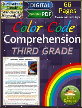 Close Reading Comprehension Color-Coding Text Evidence 3rd Grade