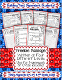 "Close Reading & Text Evidence Passage ""FREEBIE"" Common Core Aligned TDQs"
