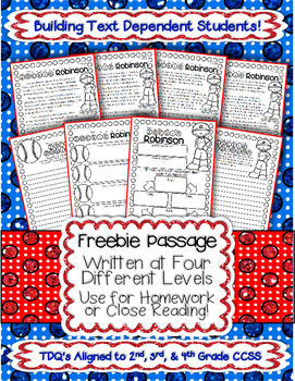 """Close Reading & Text Evidence Passage """"FREEBIE"""" Common Core Aligned TDQs"""