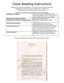 Close Reading - Text Mark Up Guide