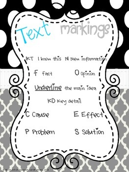 Close Reading Text Marking Posters