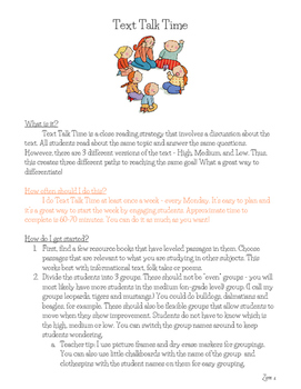 Close Reading - Text Talk Time