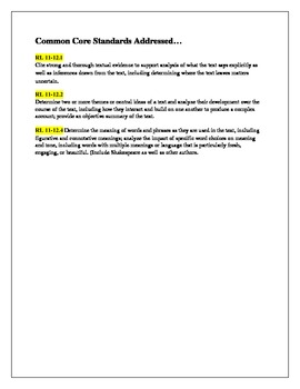 Close Reading Texts with Writing Prompt Aligned to ELA Common Core Standards