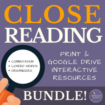 Close Reading Textual Analysis Digital & Print Resources Bundle