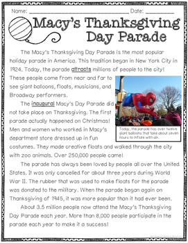 Close Reading: Thanksgiving Traditions