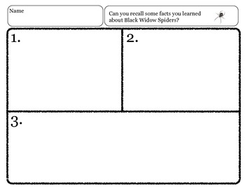 Close Reading ~ The Black Widow Spider: Expository Text Response