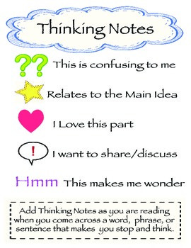 close reading thinking notes by two snappy gingers tpt