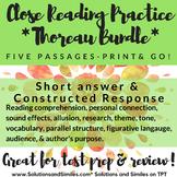 Thoreau Bundle: Close Reading, Constructed Response, TONS