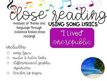 Close Reading Through Song - I Lived OneRepublic